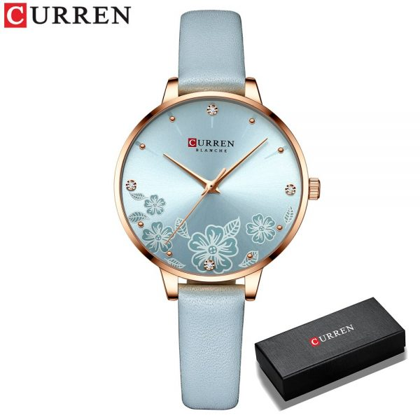 CURREN Luxury Brand Women Watch With Flower Dial Quartz Leather Strap Wristwatch For Ladies Elegant Christmas Holiday Gift 9068