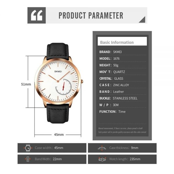 SKMEI Casual Mens Watches Male Clocks 2020 Top Brand Luxury Leather Strap Quartz Business Watch Gift Relogio Masculino 1676