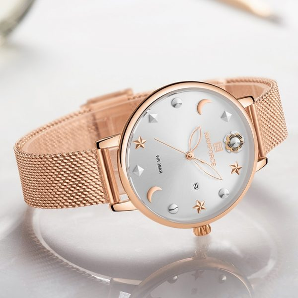 NAVIFORCE Women Watch Rose Gold Quartz Ladies Watches Stainless Steel Waterproof Women's Wristwatch Girl Clock Relogio Feminino