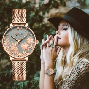 CURREN Women Watches Top Brand Luxury Stainless Steel Strap Wristwatch for Women Clock Quartz Ladies Watch Valentine's Day Gift