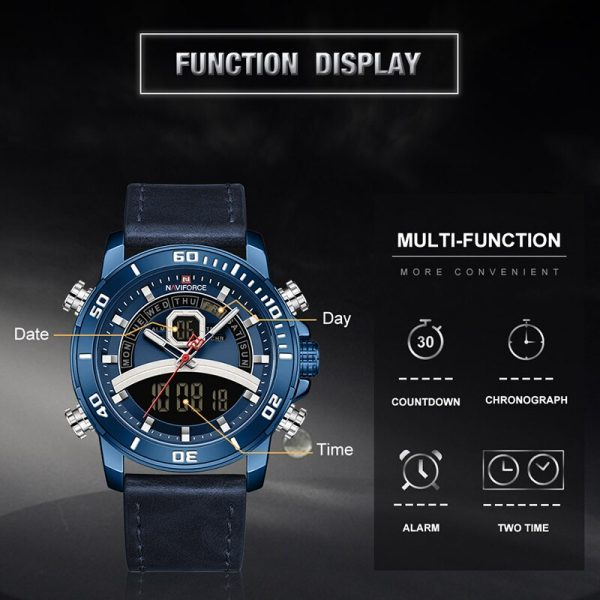 NAVIFORCE Sport Watches for Men Digital Analog Chronograph Military Wristwatch Male Leather Waterproof Luxury Brand Quartz Clock