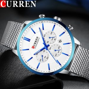 CURREN Mens Watches Top Brand Luxury Fashion Casual Waterproof Chronograph Date Genuine Leather Sport Military Male Clock 8340