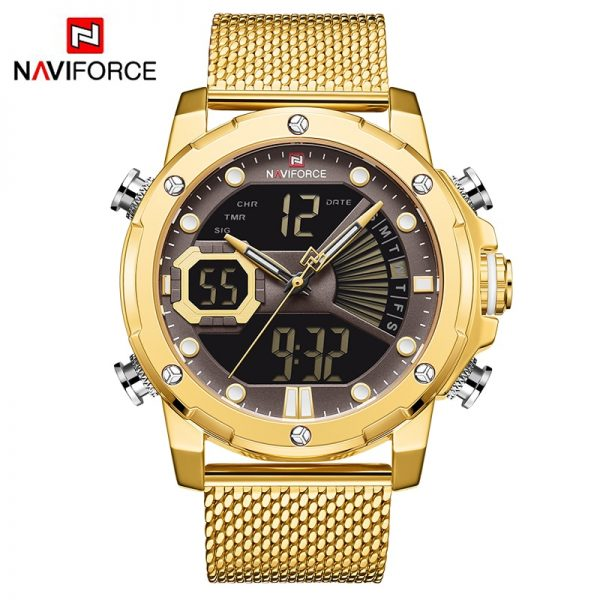 NAVIFORCE Luxury Men's Watches Quartz Steel Strap Military LED Digital Sport Wrist Watch Waterproof Clock Relogio Masculino 2020