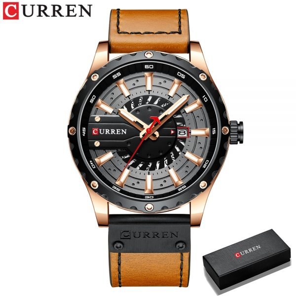 CURREN Top Brand Luxury Fashion Casual Sport Watches for Men Black Military Leather Wrist Watch Man Clock Fashion Men Wristwatch