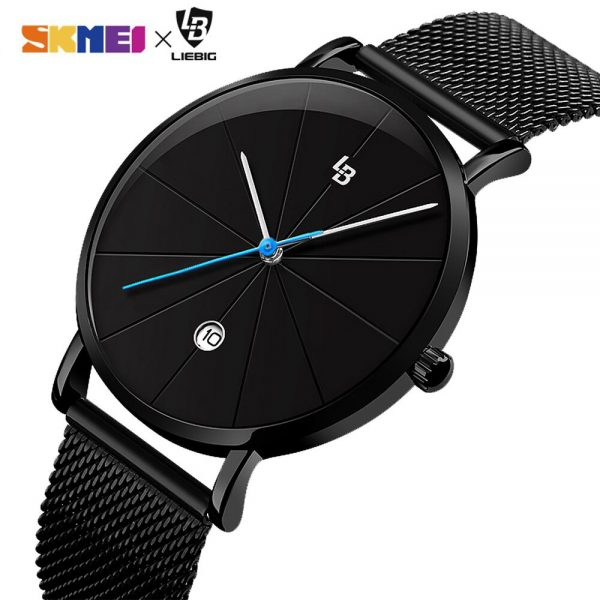 2020 Top Brand Simple Waterproof Men Quartz Business Clock Mesh Steel Bracele Calendar Date Male Wristwatches Montre homme L2006