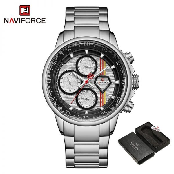 NAVIFORCE Men Sport Waterproof Watches Stainless Steel Fashion Luxury Male Watch Date Clock Quartz Wristwatch Relogio Masculino