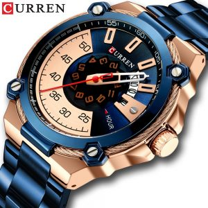 New CURREN Design Watches Men's Watch Quartz Clock Male Fashion Stainless Steel Wristwatch With Auto Date Causal Watch 8345