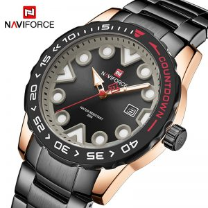 NAVIFORCE Sports Watches for Men Luxury Brand Stainless Steel Military Waterproof Quartz Wristwatch Male Fashion Casual Clock