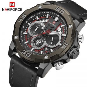 NAVIFORCE Brand Mens Watches Sports Chronograph Waterproof Quartz Watch Men Leather Date Wrist Watches Clock Relogio Masculino