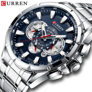 CURREN New Fashion Causal Chronograph Men Watch Stainless Steel Band Wristwatch Big Dial Quartz Watches With Luminous Pointers