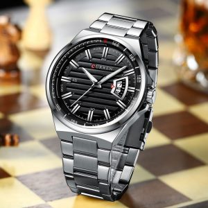 Curren New 8375 Luxury Brand Quartz Watch Stainless Steel Band Wristwatch Fashion Style Watch Man Auto Date Relogio Masculino