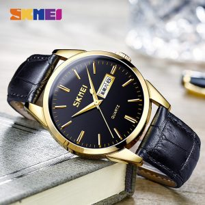 SKMEI Casual Men Quartz Watch Waterproof Male Wristwatches 2020 Top Brand Leather Strap Dress Clock Relogio Masculino 9073