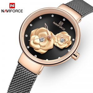 NAVIFORCE Women Watch Top Brand Luxury Dress Ladies Watches Rose Gold Flower Girl Clock Waterproof Steel Mesh Relogios Feminino