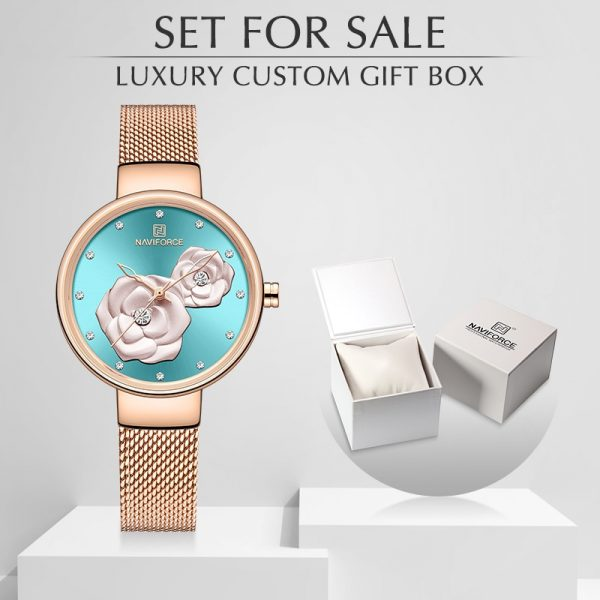 New NAVIFORCE Rose Gold Women Watches Dress Quartz Watch Ladies with Luxury Box Female Wrist Watch Girl Clock Set for Sale