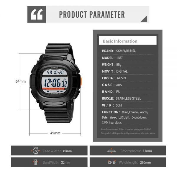 SKMEI LED Display Digital Military Sports Watches Stopwatch Men's Watch Countdown Male Electronic Clock Relogio Masculino 1657