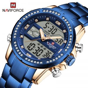 Luxury Brand NAVIFORCE Diamond Watches for Men Military Sport Quartz Wristwatch Digital Chronograph Male Watch Waterproof Clock