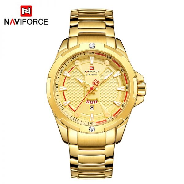 NAVIFORCE Military Fashion Gold Watch Men Luxury Quartz Wristwatch Sport Casual Clock Wateproof Watches Relogio Masculino 2019