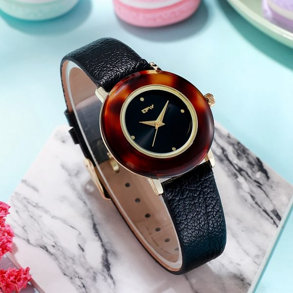 Light Luxury Women Watch Gemstone Big Dial Leather Strap Business Casual Wristwatch For Ladies Montre Femme
