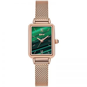 Malachite Woman Quartz Watch Japan Movement Rectangle Ladies Genuine Leather Band Stainless Mesh Band