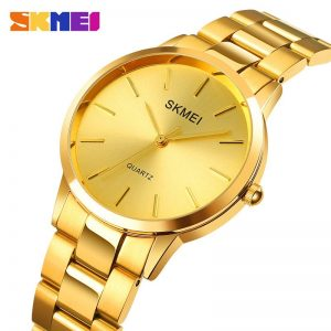 SKMEI Japanese Quartz Movement Men Watches Top Brand Luxury Stainless Steel Golden Clock Male Wrist Watch Relogio Masculino 1694