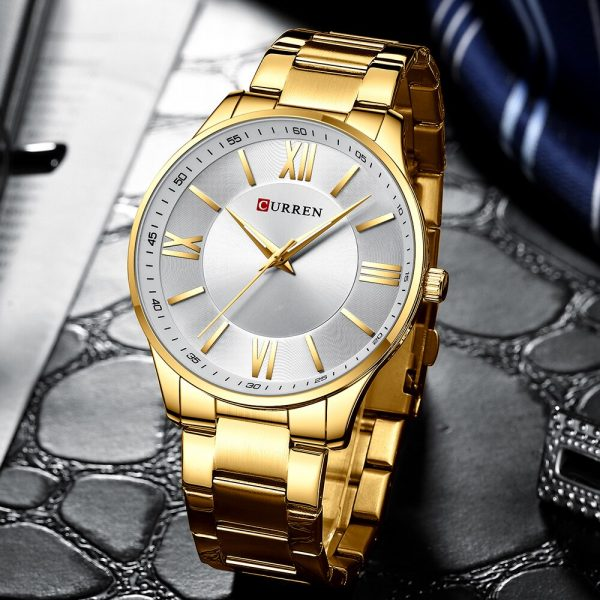 Curren Fashion Noble Sports Watch Gold Men's Watch Ultra-thin Quartz Bussiness Wrist Watch Stainless Steel Waterproof Clock