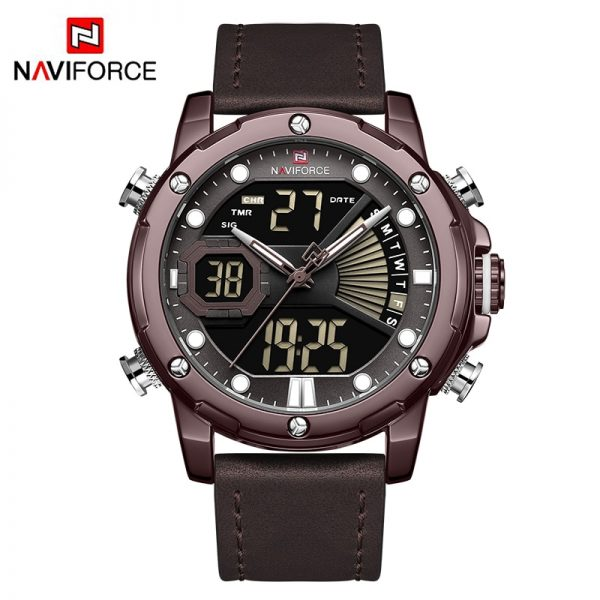 Top Luxury Brand NAVIFORCE Army Military Men Watch Led Digital Leather Sports Watches Quartz Mens Clock Relogio Masculino 2019