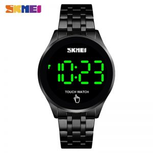 SKMEI Fashion Men Led Light Touch Screen Digital Watches Stainless Steel Waterproof Male Wristwatch Clock Relogio Masculino 1579
