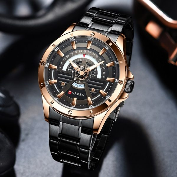 CURREN Fashion Casual Style Watch For Men Luminous Hands Men`s Wristwatch Bussiness Big Dial Watch Stainless Steel Alloy Watch