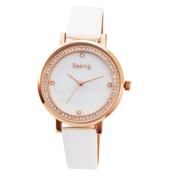 Mother of Pearl Women Watch Light Luxury Genuine Leather Strap Diamond Dial
