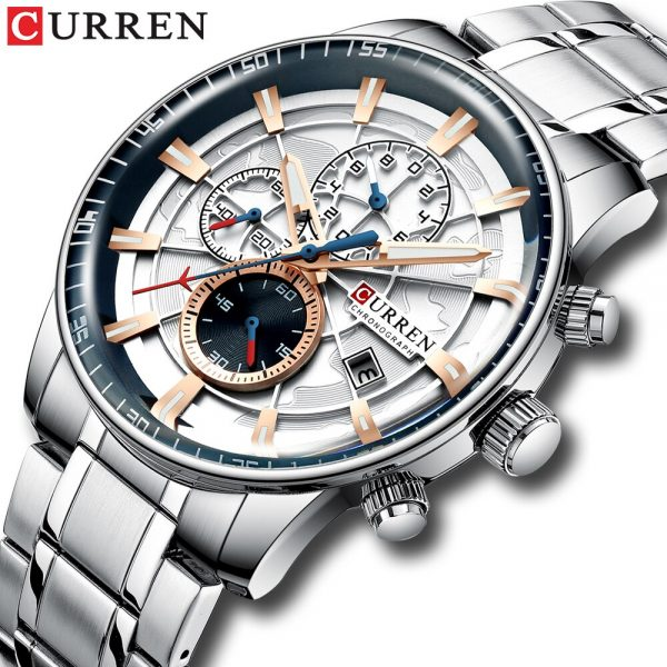CURREN New Fashion Stainless Steel Mens Watches Top Brand Luxury Multi-function Chronograph Quartz Wristwatch Relogio Masculino