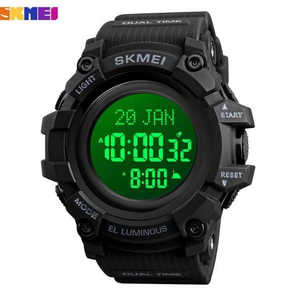SKMEI LED Display Electronic Men's Wristwatch Stopwatch Calendar Male Sports Watches Muslim Azan Clock Relogio Masculino 1680