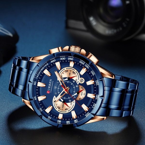 CURREN Top Luxury Brand Men Watch Quartz Wristwatch Sports Chronograph Clock Male Stainless Steel Band Fashion Business Watch