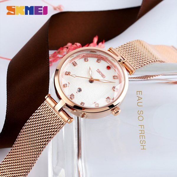 SKMEI Fashion Diamond Dial Quartz Wrist Watches Mesh Steel Strap Female Clock For Women Ladies Relojes Mujer 2020 New Arrival