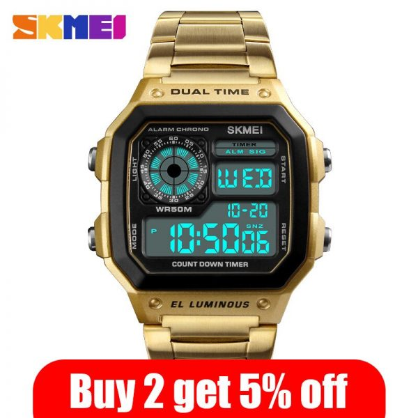 SKMEI Fashion Men Sport Watch Digital Watches 12/24 Hour 2 Time Chrono Countdown Waterproof Male Wristwatches montre homme 1335