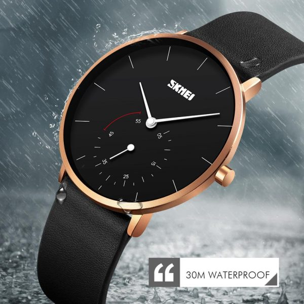 SKMEI Simple Japanese movement Quartz Men Watches Top Brand Luxury Leather Strap Waterproof Male Clock relojes para hombre 9213