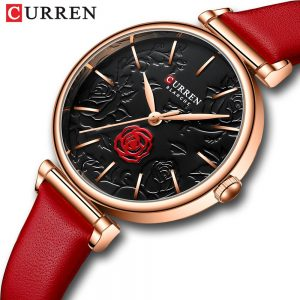 CURREN Ladies watch Top Brand Luxury Women's 3D Rose Pattern Wristwatch Fashion Casual Dress Waterproof Quartz Girls watches