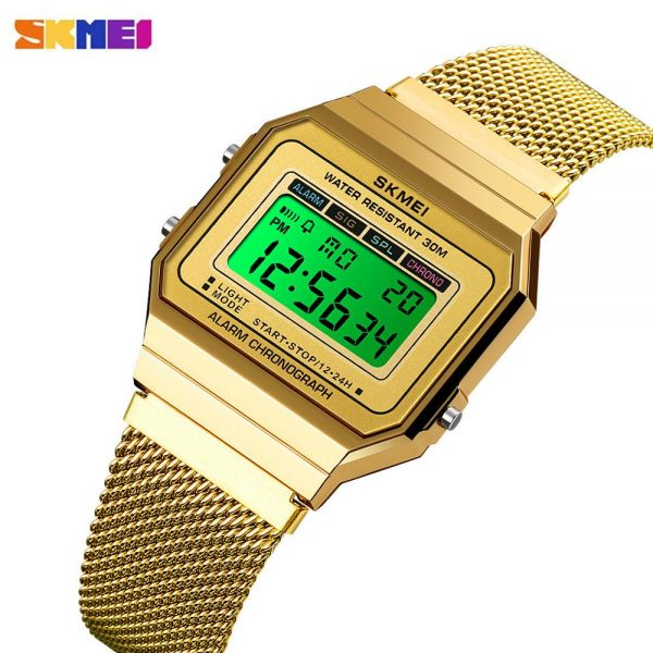 SKMEI LED Display Digital Golden Men's watches Stopwatch Date Male Watch Top Brand Luxury Relogio Masculino Saatler Clock 1639
