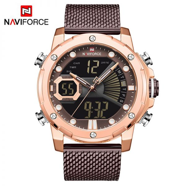Luxury NAVIFORCE Watches Mens Business Steel Strap Quartz Military Digital Sport Wrist Watch Waterproof Clock Relogio Masculino