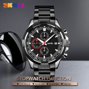 SKMEI Men Wrist Watches Top Brand 2021 Luxury Stainless Steel Luminous Date Stopwatch Waterproof Clock relojes para hombre 9192