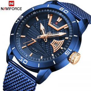 NAVIFORCE Mens Watches Top Brand Luxury Big Dial Military Quartz Watch Stainless Steel Waterproof Sport Clock Men Reloj Hombre
