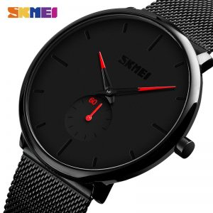 SKMEI Casual Men Quartz Wristwatches Simple Male Business Clock Top Brand Mesh Steel Bracelet reloj hombre 9185 Dropship