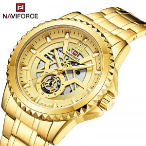 Top Brand NAVIFORCE Luxury Gold Sports Men's Watches Fashion Stainless Steel Creative Quartz Wrist Watch Waterproof Analog Clock