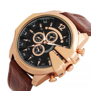 Stylish Leather Men Watches Creative Watch Waterproof Quartz Sport Wrist Watch Relogio Masculino
