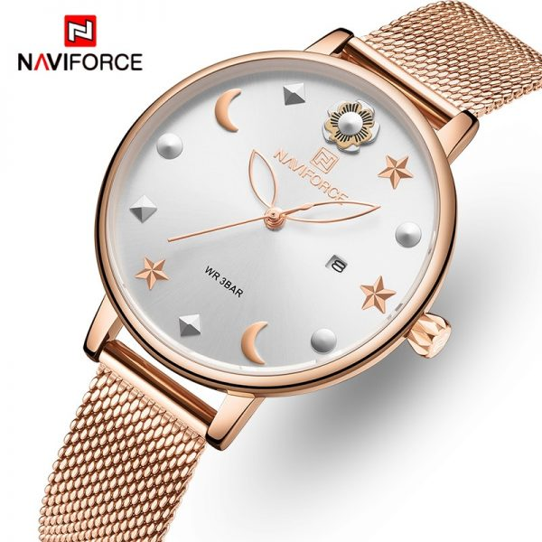 NAVIFORCE Women Watch with Box Quartz Ladies Watches Stainless Steel Waterproof Women's Wristwatch Girl Clock Set for Sale