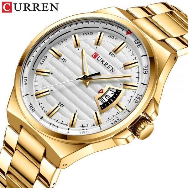 Top Curren 8375 Luxury Brand Quartz Watch Stainless Steel Band Wristwatch Fashion Style Watch Man Auto Date Relogio Masculino