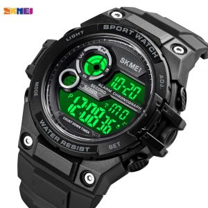 SKMEI men watches 2021 Military 2 time Stopwatch Swimming 100m Waterproof Clock Male Sport Wristwatch reloj digital hombre 1759