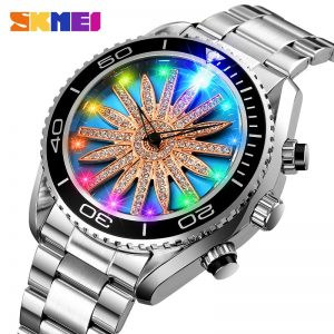 SKMEI Creative Colorful LED Luminous Light Quartz Men Watches Stainless Steel Waterproof Male Wristwatch Relogio Masculino 1677