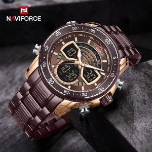 NAVIFORCE New Mens Sport Watches Top Brand Luxury Full Steel Quartz Clock Male Waterproof Big Dial Watch Men Relogio Masculino