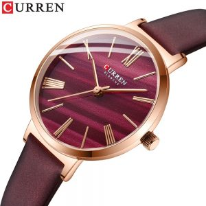 CURREN Creative Women's Watch Leather Strap Quartz Woman Wristwatch Classic Simple Female Clock Dress Gift Elegant Lovely Girl