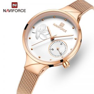 NAVIFORCE Women Watches Luxury Brand Fashion Quartz Watch Ladies Mesh Stainless Steel Waterproof Girl Clock Relogio Feminino
